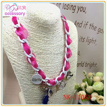 Special design personalized thick chain necklace,braided chain necklace with variety of pendants for girls