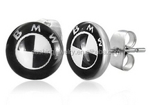 Trendy 7mm Stainless Steel 2-tone Car BMW Inspired Logo Small bmw logo earrings studs