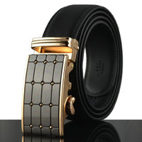 Men's Leather Belt Sliding Buckle 35mm Ratchet Black Belt
