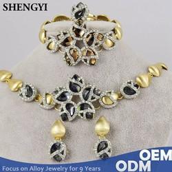 star shape luxury crystal 2 tone plated 4 piece jewelry sets