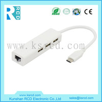 3 Port USB 3.0 Type-C HUB With RJ45 Lan Ethernet Adapter