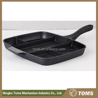 24cm Die Cast Aluminium induction Grill Pan with Two mouths and Ceramic Coating