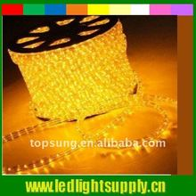 yellow round led ropelight 220v with 3wires super bright led rope light led step light strip