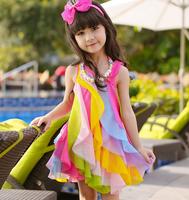 d46158a 2015 hot sale summer children girls sweet Rainbow dress