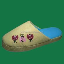 BH09048 nude kids indoor slippers suede with beetles printing