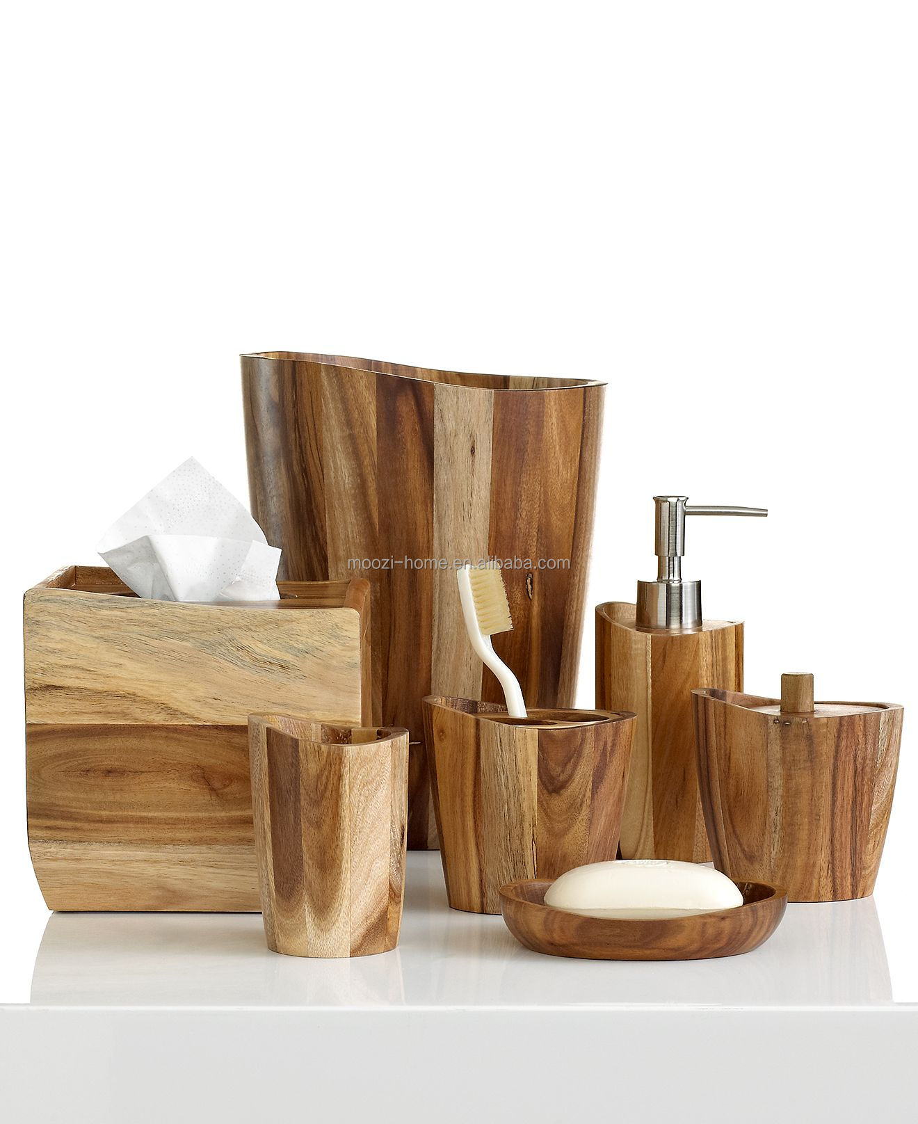 Natural wooden bath sets wood bathroom accessories for Where to find bathroom accessories
