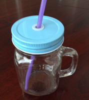 glass juice drink bottle, clear glass mason jar, glass mason jar with handle and plastic straw