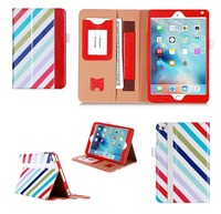 New Products in 2015 Contrast Color Wallet Tablet Cover Case with Hand Strap and Card Slot for iPad mini 4