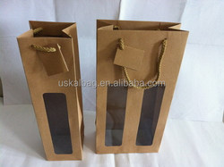 Wine kraft paper bag with window