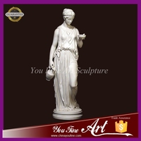 carved stone greek lady figurine marble statue sculpture