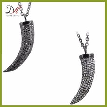Daihe DH-PN013 black diamond pave wolf tooth necklace for men