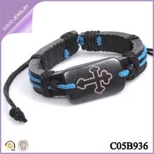 pulsera de cuero de cruz hecho a mano pulsera baratos