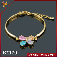 Wholesale Alibaba Website Butterfly Zircon Bracelet Bangle With Real Gold Plated