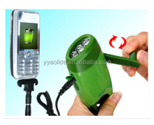 Wind Up 3 LED Flashlight Bulbs Hand Crank Torch USB Cell Phone Charger Compass