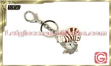 Small size zinc alloy Cat shaped removable unique keyring watch