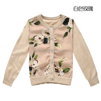 Girls Sweater WL Monsoon 2015 Autumn Brand Designer Girls Cardigan Character Pattern Baby Girl Sweater Kids Knitted Wear