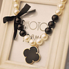 Women fashion clovers flower shaped big pearl necklace,bow ribbon necklace (SWTPR1265)