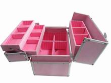 small full pink makeup case cosmetics storage case aluminum hard case with trays nail polish case eyelash case