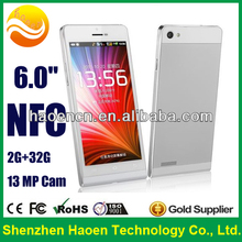 Hot NFC Android Mobile Phone 6 inch Cellular Quad Core P6 Smartphone with MTK6582 mobile Dual SIM 1G 16G Ultra Slim Smartphone