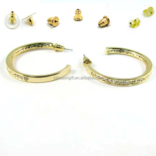 2015 wholesale Metal Crystal Hoop earring Yellow gold Earring Jewel With Brass Silver Post