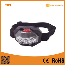 T03 AAA Plastic Camping Outdoor Waterproof LED Headlamp 1 red led+2 led light headlamp