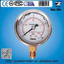 Standard liquid filled vibration proof pressure gauge SS 304 case copper alloy internals optional SUS316