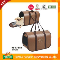 PU Leather Paw Printed Pet Travel Bag for Dog