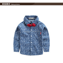 boy's printed demin long sleeve shirt with decorative bow