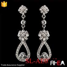 Rhodium Clear Rhinestone Crystal Alloy Dangle Earrings Wedding earring