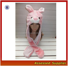 XJ01188/Pink Bunny Animal Plush Warm headwear / long Hat earmuff Scarf Gloves Mitten fluff headwear