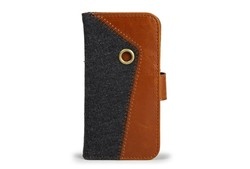 HOT functional canvas + PU leather folio case for iphone 5S