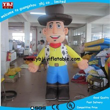 2015 Cheap customized inflatable advertising cowboy cartoons, advertising inflatable walking cartoon, inflatable moving cartoon