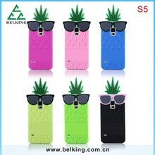 3D Cute Pineapple Fruit Rubber Case For Samsung Galaxy S5 Silicon Case With Logo