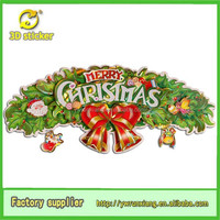 3D Paper christmas slogan ,Gold Stamping Sticker for Wall Door Window