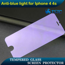 Mobile phone accessory anti scratch anit blue ray tempered glass screen protective film for Iphone 4