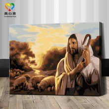 diy paint by number kits wooden frame famous jesus christ oil paintings