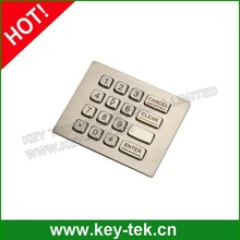 16 keys compact format IP66 dynamic water proof and vandal proof Stainless Steel industrial dot matrix keypad