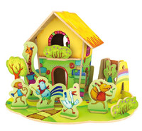 Kids mini house wooden jigsaw DIY house