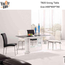 modern glass top wooden base dining table for sale