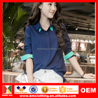 2015 Latest Summer Polo Collar Hit Color Leisure Blouse Women Slim Short Sleeve Chiffon Style T-shirt/Blouse OEM Survice