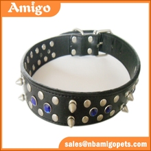 Factory Direct Price Spiked Dog Collars Rhinestone Spikes Leather Dog Collar