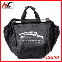 custom foldable supermarket trolley cart shopping bag 210D polyester tote bag with small pouch