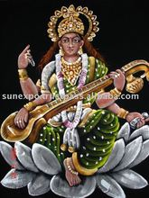 Goddess Saraswati EThnic Attractive Velvet Oil Painting Wall Hanging