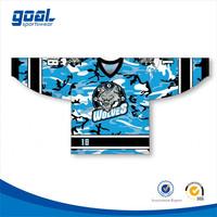 Wholesale custom brand sports sublimated blue box camo hockey jersey