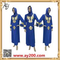 China Wholesale Latest Abaya Designs Dark Blue Long Sleeve Morocco Kaftan