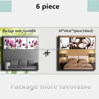 Free Shipping 6 Panels New Modern Wall beauty pink Yulan Magnolia flower pictures Decorative Art Picture Paint on Canvas Prints
