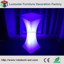 LED square light up bar table with top glass for bar and night club