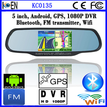 CE RoHS 1080P DVR FM Wifi GPS Rearview Mirror 5.0 Inch Screen Android For Toyota Car Multimedia System