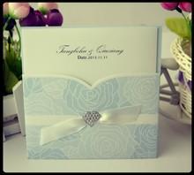 elegant wedding card & Hot sale invitation card & printing sky blue rolling wedding invitation place card