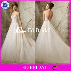 ST557 Charming Shining V Neck Bare Back Beads And Sequins Ball Gown Wedding Dress Wedding Gown